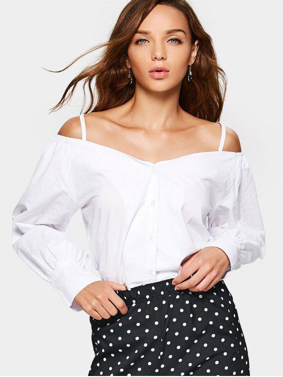 Botón de hombro frío hasta la blusa de Cami - Blanco XL