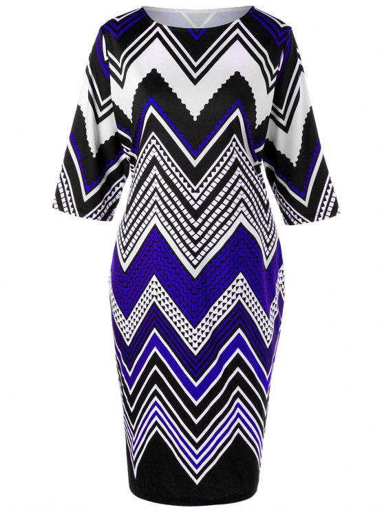 فستان مزين بخطوط متدرجة - مزيج ملون XL