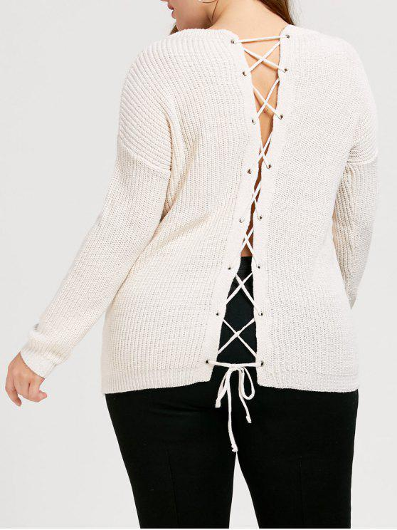 unique Back Lace Up Chunky Plus Size Sweater - WHITE ONE SIZE
