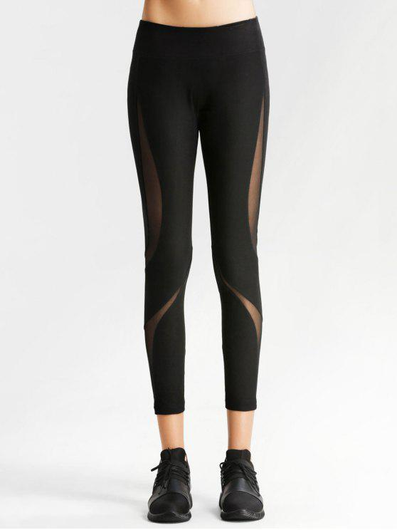 outfit Workout Mesh Panel Skinny Leggings - BLACK L