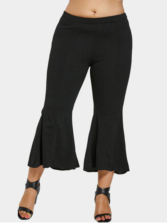 shops Bell Bottom Plus Size Pants - BLACK 4XL