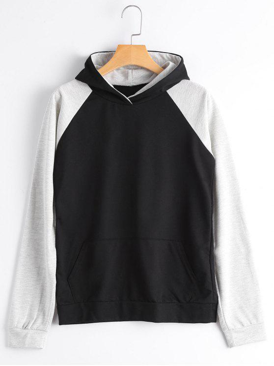 fancy Casual Two Tone Hoodie - BLACK M