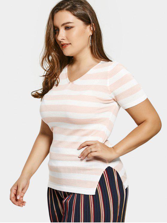 Rayé Plus Size Lace Up Tricots - Rose et Blanc 3XL