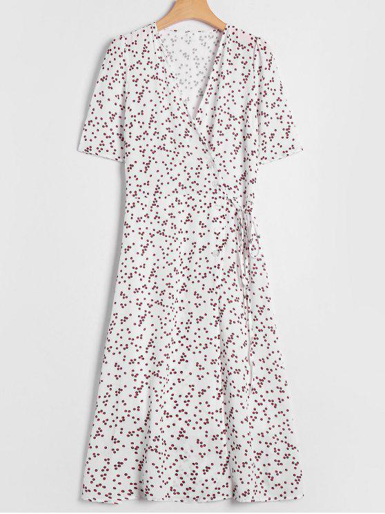 c4152f867e6 44% OFF  2019 Polka Dot Overlay Wrap Dress In WHITE