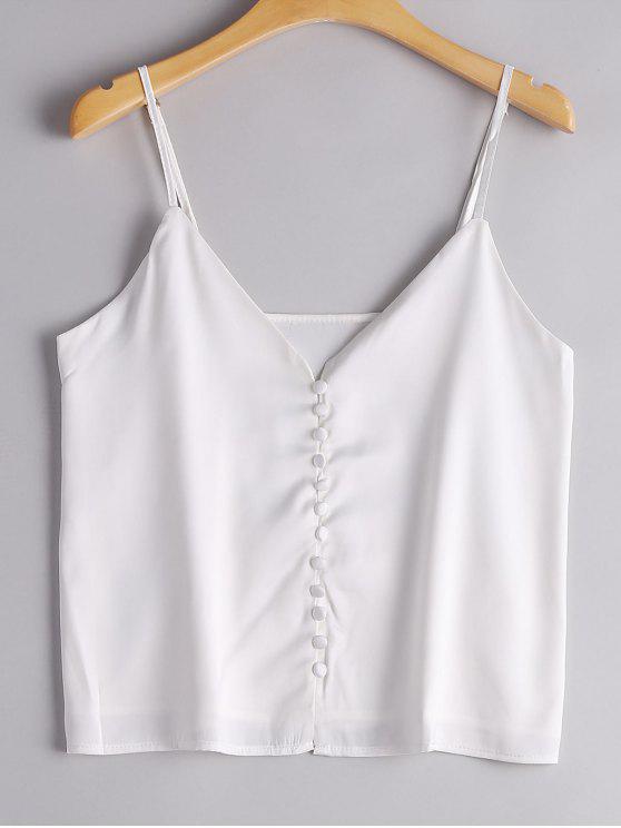 توب كامي تصميم زر حزام السباغيتي - أبيض L