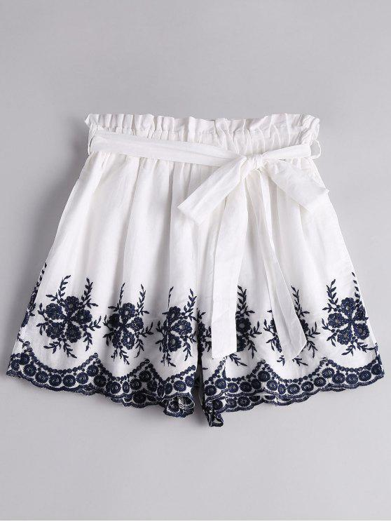 fashion Floral Embroidered High Waist Paperbag Shorts - WHITE L