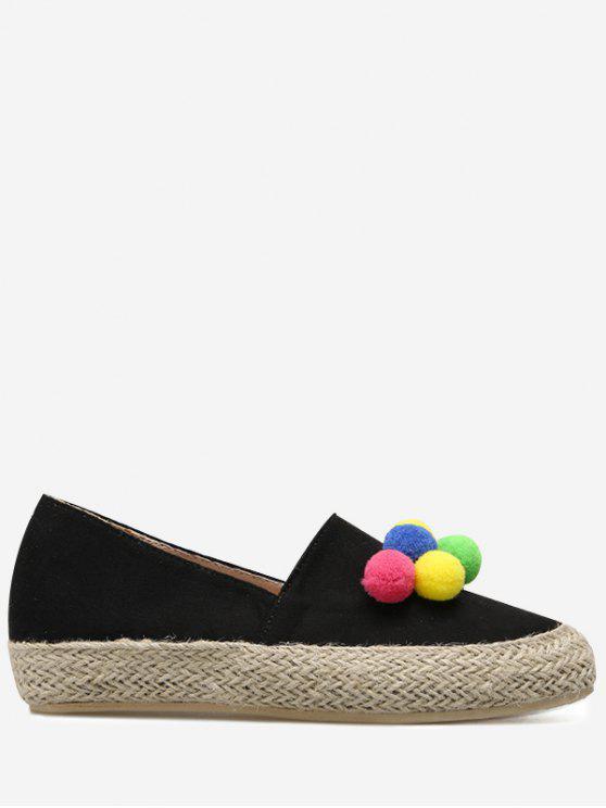 women's Espadrilles Pompon Round Toe Flat Shoes - BLACK 38