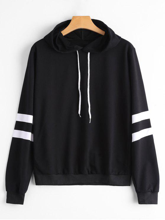ladies Casual Stripes Panel Hoodie - BLACK S