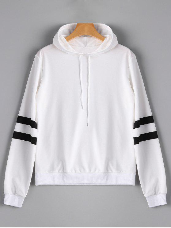 hot Casual Stripes Panel Hoodie - WHITE L