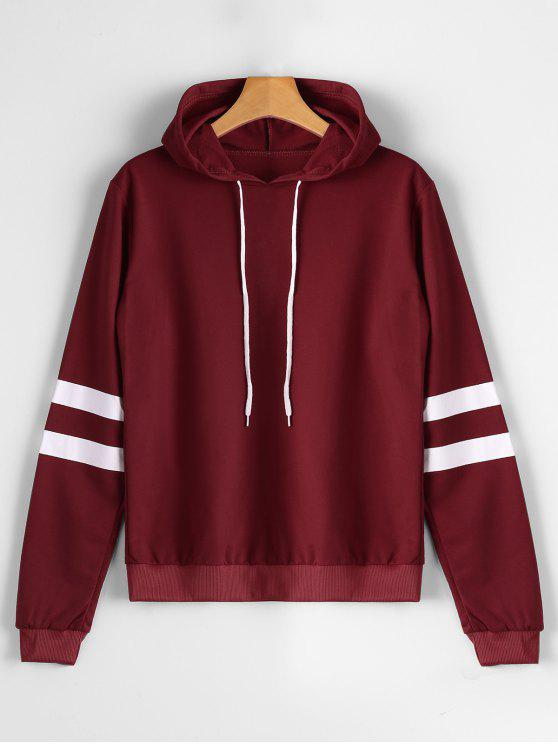 shop Casual Stripes Panel Hoodie - WINE RED XL