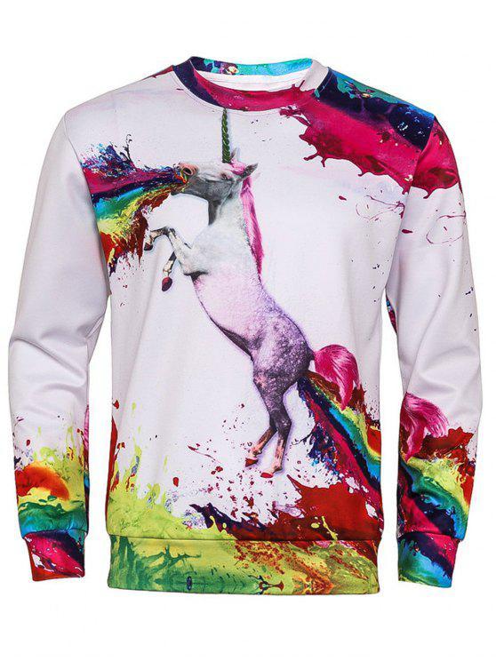 29ad0869 23% OFF] 2019 3D Colorful Splatter Paint Unicorn Print Sweatshirt In ...