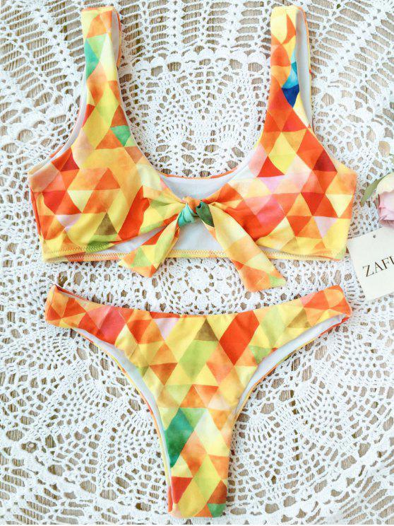 Conjunto de bikini anudado Argyle acolchado - Amarillo L