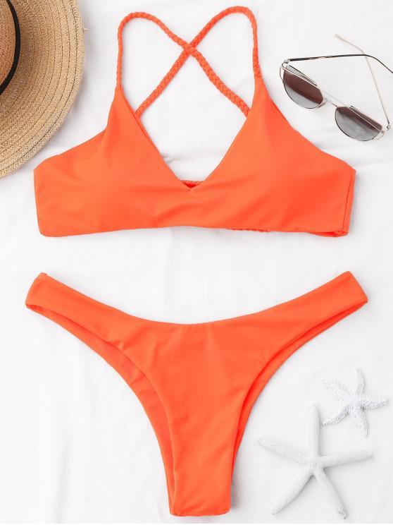 womens Braided Straps Cross Back Bikini Set - ORANGE S