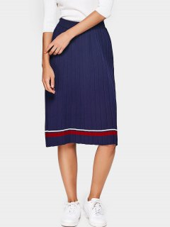 High Waist Striped Knitted Pleated Skirt - Deep Blue