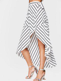 Striped High Waist Asymmetric Wrap Skirt - White L