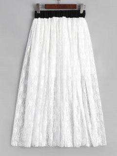 Elastic Waist Lined Lace Maxi Skirt - White M