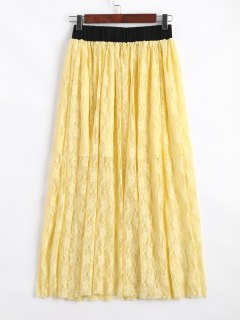 Elastic Waist Lined Lace Maxi Skirt - Yellow L