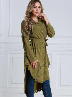 Sheer Longline High Low Shirt - Army Green Xl