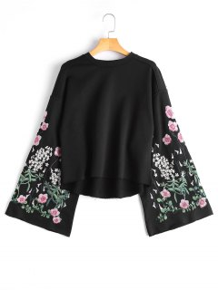 Flare Sleeve Floral Embroidered Sweatshirt - Black M