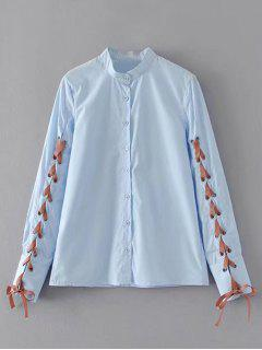 Button Down Lace Up Shirt - Light Blue M