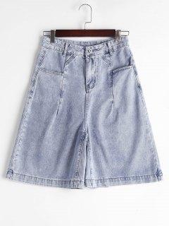 Fünfte High Waisted Denim Shorts - Denim Blau L