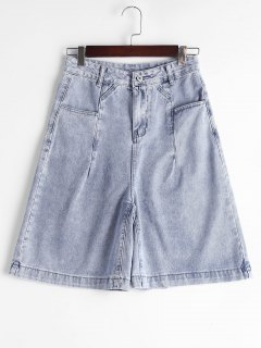 Fifth High Waisted Denim Shorts - Denim Blue L