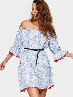 Poms Printed Off Shoulder Trapeze Dress - Blue S