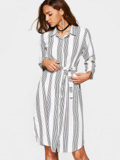Button Up Slit Belted Striped Dress - Stripe L