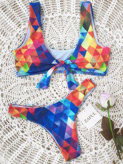 Padded Argyle Knotted Bikini Set - Blue L