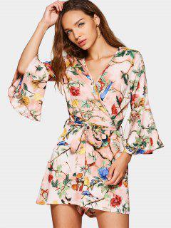 Flare Sleeve Floral Print Belted Romper - Floral S