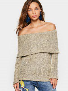 Off The Shoulder Flounce Sweater - Light Khaki S