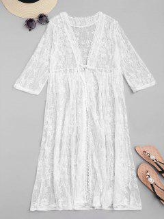 Sheer Embroidered Mesh Cover-up - White