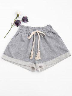 Cuffed Sweat Shorts - Light Gray S