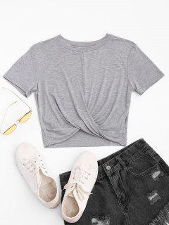 Twist Cropped T-shirt - Light Gray M