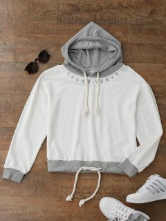 Embroidered Drawstring Hoodie - White