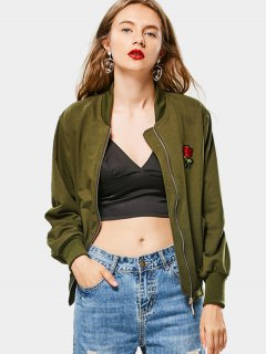 Zip Up Rose Embroidered Bomber Jacket - Army Green
