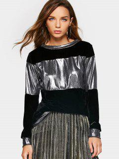 Metallic Velvet Sweatshirt - Black Xl