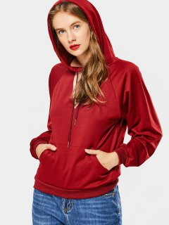 Loose Cut Out Choker Hoodie - Wine Red