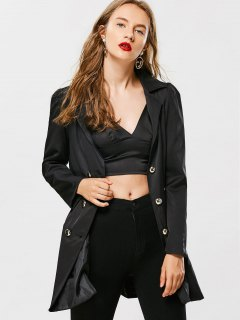 Skirted Double-breasted Trench Coat - Black 2xl