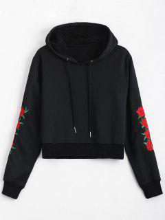 Floral Patched Drawstring Hoodie - Black S