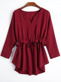 Cuello Entallado Cuello De Cordón Blusa De Cordón - Rojo Oscuro Xl