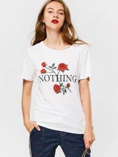 Cotton Rose Print T-shirt - White M