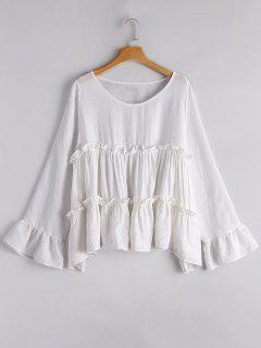 Smocked Ruffles Long Sleeve Blouse - White