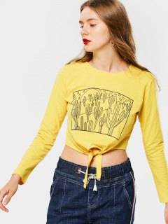 Bow Tied Graphic Cropped Top - Yellow L