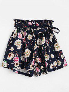 Smocked High Waist Floral Belted Shorts - Floral