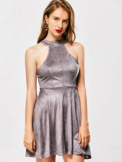 Back Lace Up Faux Suede Club Skater Dress - Gray M
