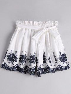 Floral Embroidered High Waist Belted Shorts - White L
