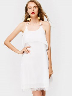 Overlap Criss Cross Lace Trim Mini Dress - White M