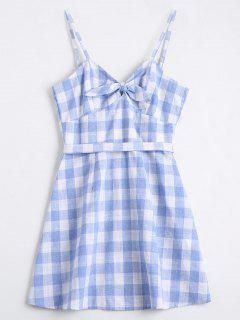 Belted Bowknot Checked Mini Dress - Checked L