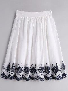Floral Embroidered A Line Skirt - White Xl